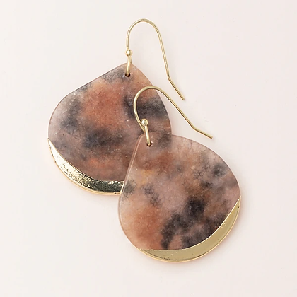 Stone Dipped Teardrop Earrings Pink Agate/Gold