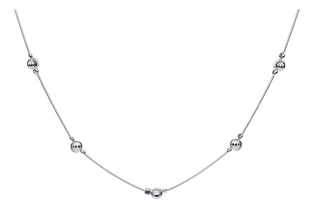 """Sterling Silver Single Strand, 5 Bead Necklace 18"""""""