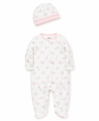 Safari Scribble Footed One-Piece with Hat Little Me