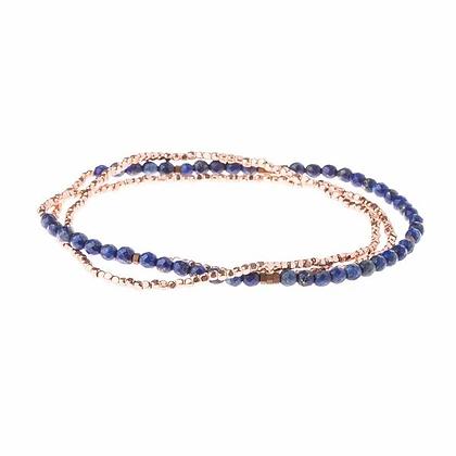 Delicate Stone Wrap Lapis/Rose Gold