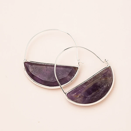 Stone Prism Hoops Amethyst/Silver