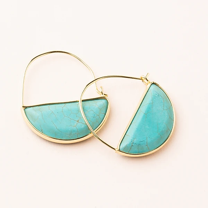 Stone Prism Hoops Turquoise/Gold