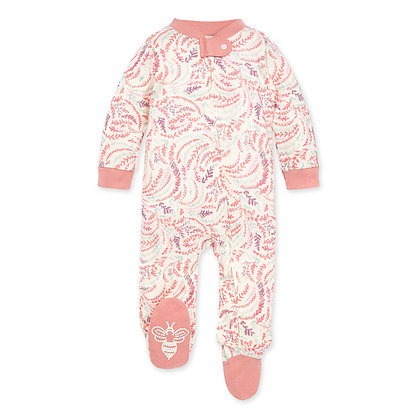 Swirly Twigs Organic Baby Zip Front Loose Fit Pajamas