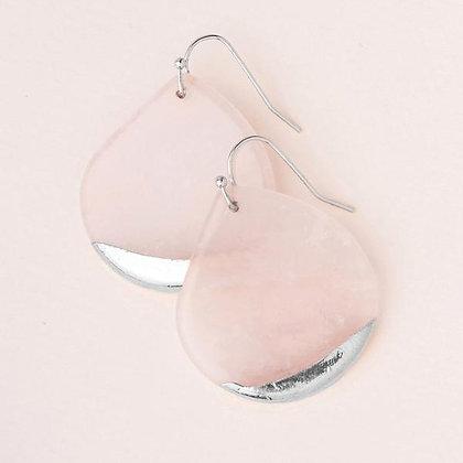 Stone Dipped Teardrop Earrings Rose Quartz/Silver