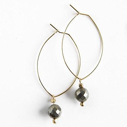 Lenny Gemstone Earrings--Pyrite