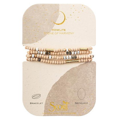 Wood, Stone & Metal Wrap Howlite/Gold