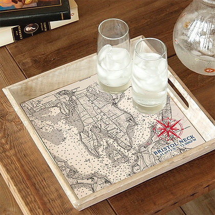 Bristol Neck Map Wooden Serving Tray