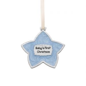 Baby's First Christmas Blue Enamel Ornament from Danforth Pewter