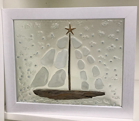 Sea Glass Sailboat on Clear Background