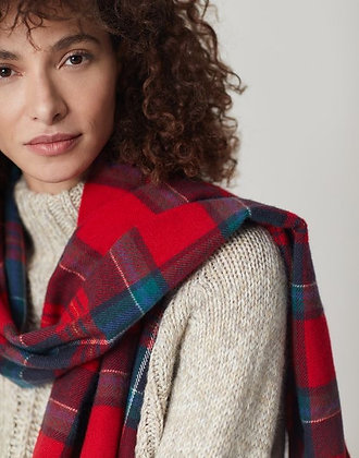 Bracken Scarf in Red Navy Check from Joules