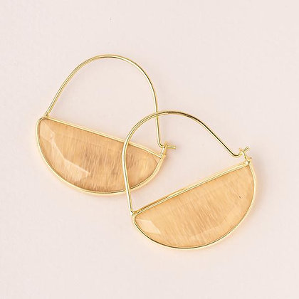 Stone Prism Hoops Citrine/Gold