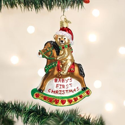 Baby's First Christmas/Rocking Horse Teddy Ornament from Old World Christmas