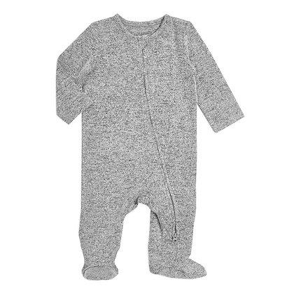 Snuggle Knit Newborn Footie Heather Grey by aden + anais