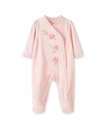 Floral Velour Footed One-Piece