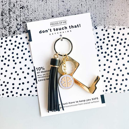 Don't Touch That! Keychain Gold w/Black Tassel
