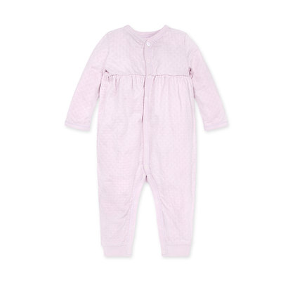 Honeycomb Pansy Pointelle Organic Baby Jumpsuit