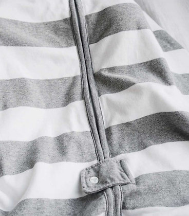 Grey Rugby Peace Stripe Zip Front Hooded Organic Baby Bunting