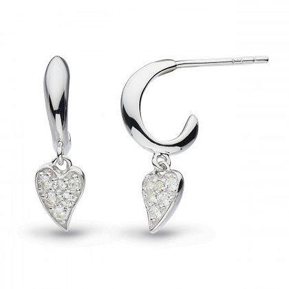 Precious Heart White Topaz Hoop Drop Earrings