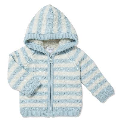 Blue Stripe Sherpa Hoodie