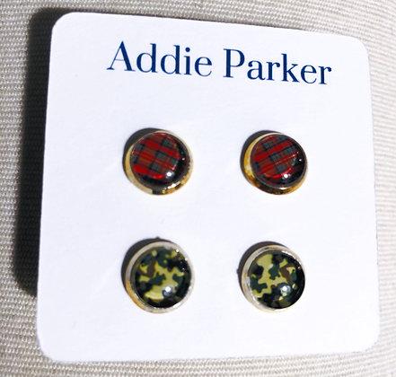 Plaid Camo Stud Earrings Set of Two