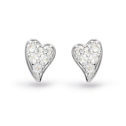White Topaz Heart Stud Earrings