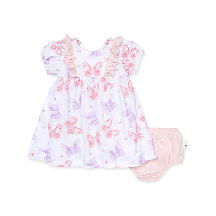 Butterfly Buddies Organic Baby Dress & Diaper Cover Set