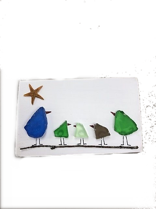 Sea Glass Birdie Family of Five