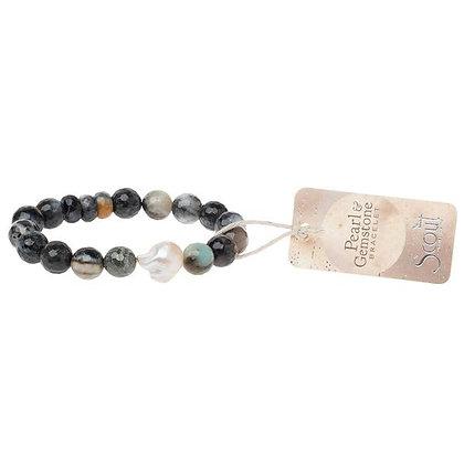 Pearl & Gemstone Bracelet Black Agate