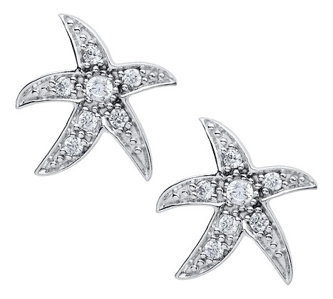 Sterling Silver Starfish Earrings with CZ