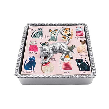 Cat Beaded Napkin Box