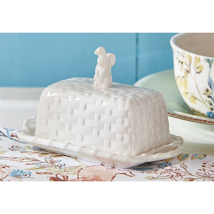 Bunny Basketweave Butter Dish