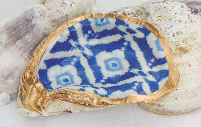 Blue Ikat Oyster Shell Jewelry Bowl