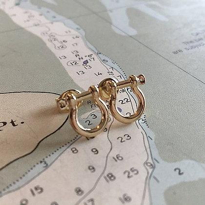 Mariner Shackle Earrings 14kt Gold Dipped