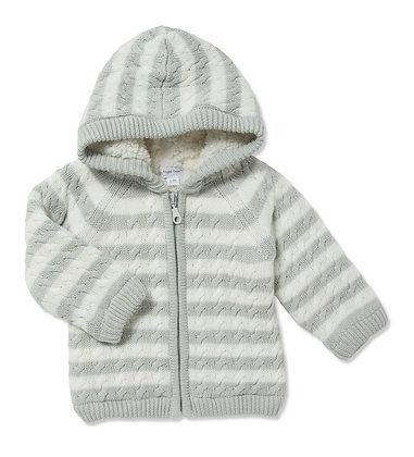 Grey Stripe Sherpa Hoodie