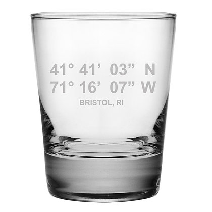 Bristol Latitude/Longitude Double Old Fashioned Glass