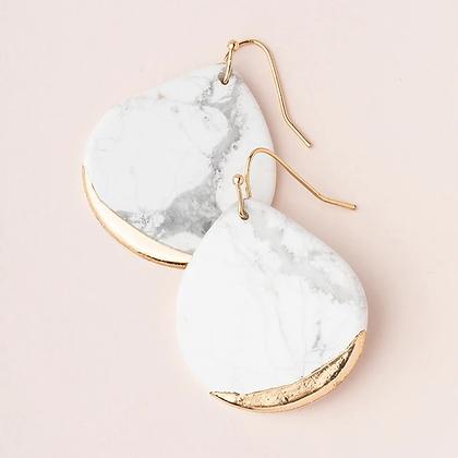 Stone Dipped Teardrop Earrings Howlite/Gold