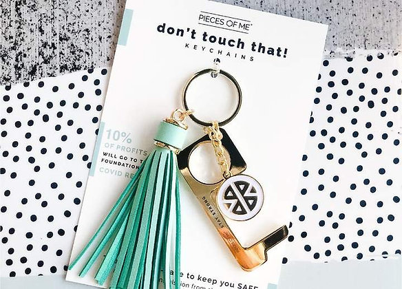 Don't Touch That! Keychain Gold w/Teal Tassel