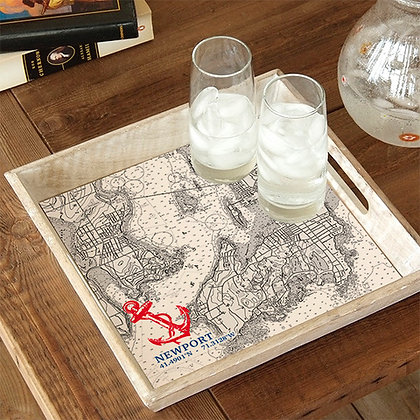 Newport Map Wooden Serving Tray