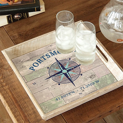 Portsmouth Blue Compass Rose Wooden Serving Tray