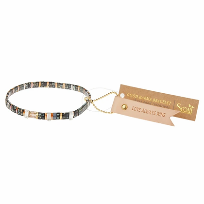 Good Karma Miyuki Charm Bracelet   Love Always Wins - Eclipse/Sparkle/Silver