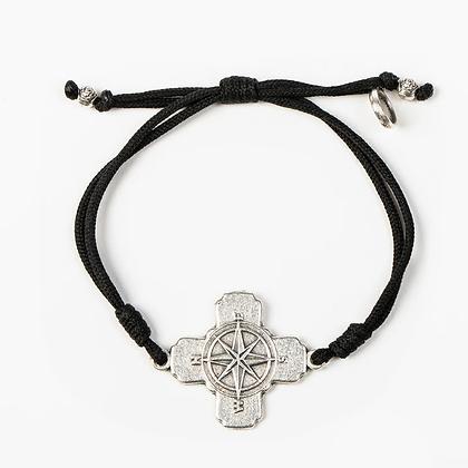True North Compass Cross Bracelet Silver