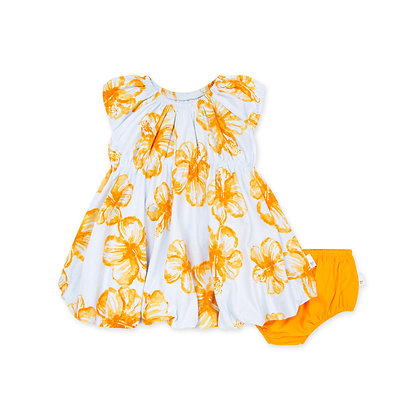 Floating Hibiscus Organic Baby Bubble Dress & Diaper Cover Set