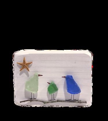 Sea Glass Birdie Family of Three
