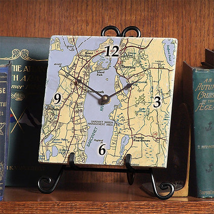 Portsmouth Map Marble Tile Clock with Easel