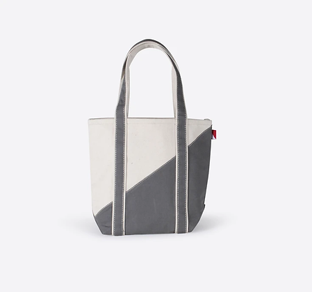 Mini Contemporary Boat Bag--Natural with Grey