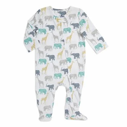 Long Sleeve Zip One-Piece Elephants+Giraffes
