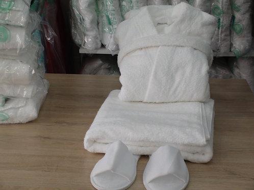 LOCATION service peignoir de bain pur coton +mule +drap de bain