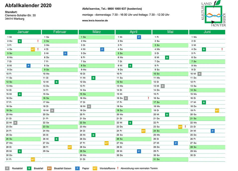 Abfallkalender Januar bis Juni