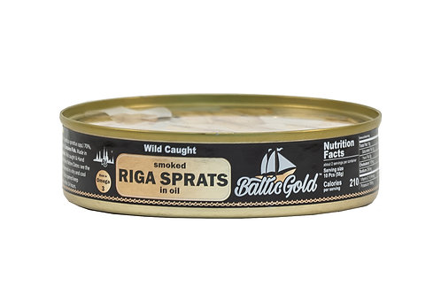 Baltic Gold Wild Caught Smoked Riga Sprats in Oil