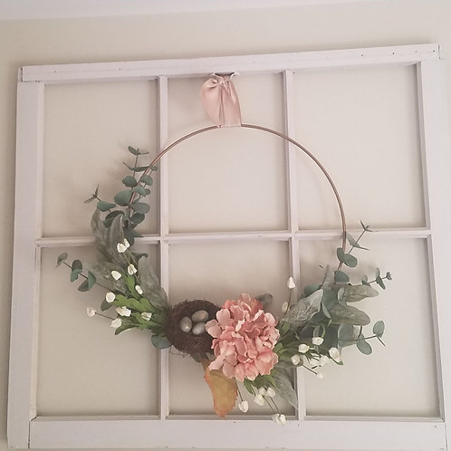 Blush hydrangea w/nest wreath